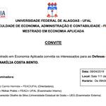 Convite da Defesa de Dissertação - Mestrado em Economia Aplicada